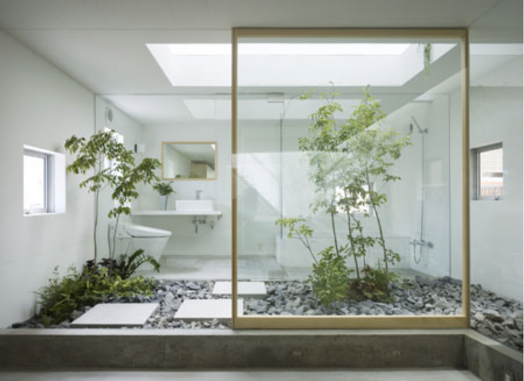 Thema Natur ins Bad holen: echte Indoorgärten