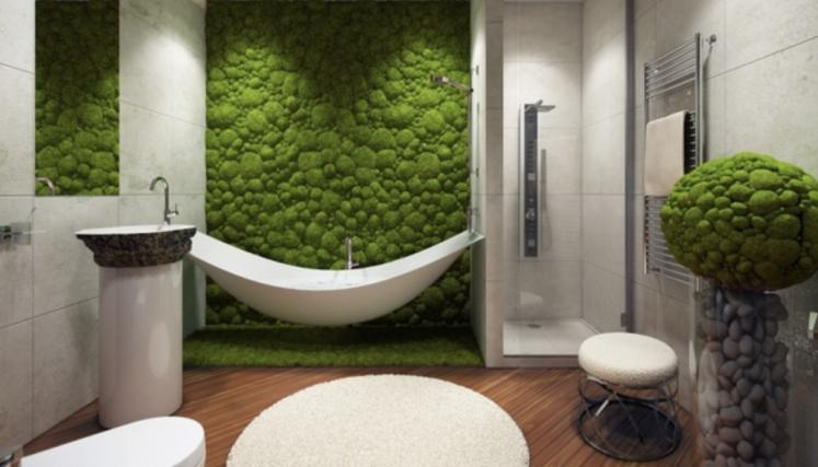 Thema Natur ins Bad holen: moosbepflanzte Wände